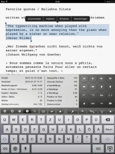 Screenshot Textinformationen