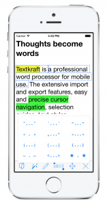 The bracket function selects the current sentence automatically – if you do not define your own selection – and places quotes and brackets arount it. – Tap the image to enlarge it!