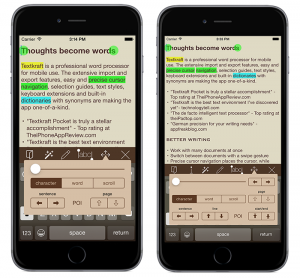 More work space for your text: Textkraft Pocket on an iPhone 6 Plus, before and after the update. Both screen shots present the same text in 16px font size on the new sepia color theme. The cursor navigation offers additional functions. – Tap the image to enlarge it!