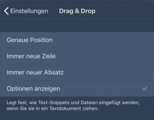 Drag & Drop Einstellungen