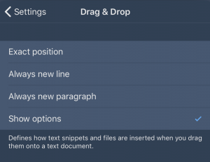 Drag & Drop Settings