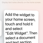 The font size of the widget depends on the amount of text and your later settings.